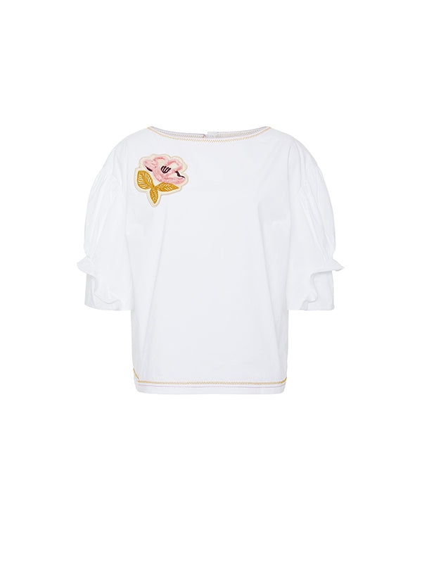 COTTON BOATNECK TOP IN WHITE