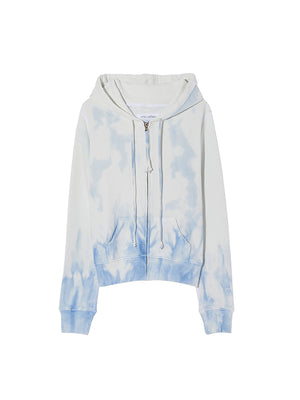 Callie Zip Up Hoodie in Sky Blue Tie