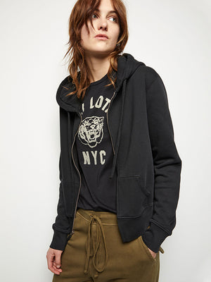 Nili Lotan Callie Zip up Hoodie in Washed Black
