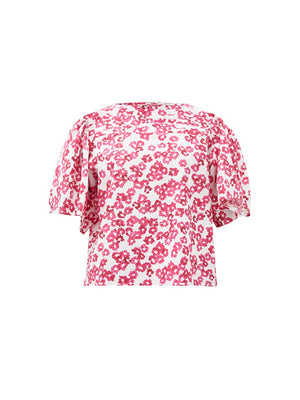Floral Print Blouse in White/Fuchsia