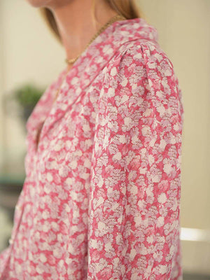 Rixo Carly Top in Faded Floral Pink