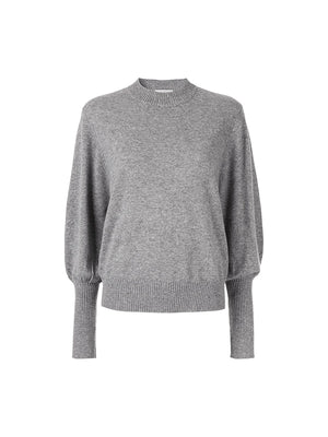 Cashmere Balloon Sleeve Knit in Grey Marle