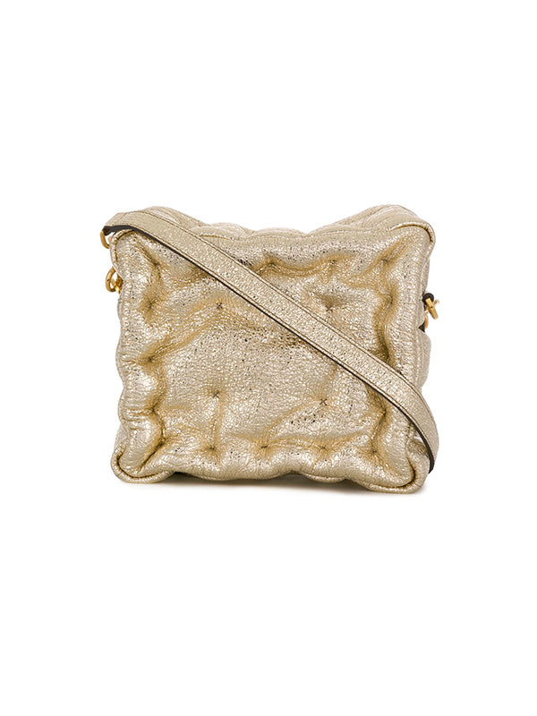 Chubby Cube Crossbody in Light Gold