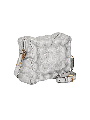Chubby Cube Crossbody In Silver Crinkled