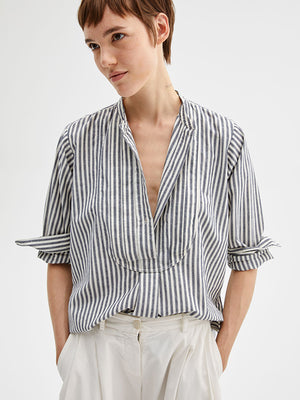 Nili Lotan Clemont Top in Black Stripe