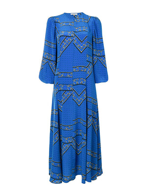 Cloverdale Silk Dress in Lapis Blue