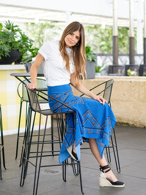 Cloverdale Silk Skirt in Lapis Blue