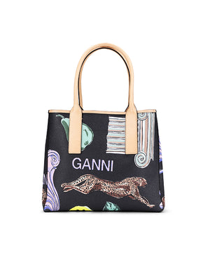 Coated Canvas Tote Bag in Multicolour