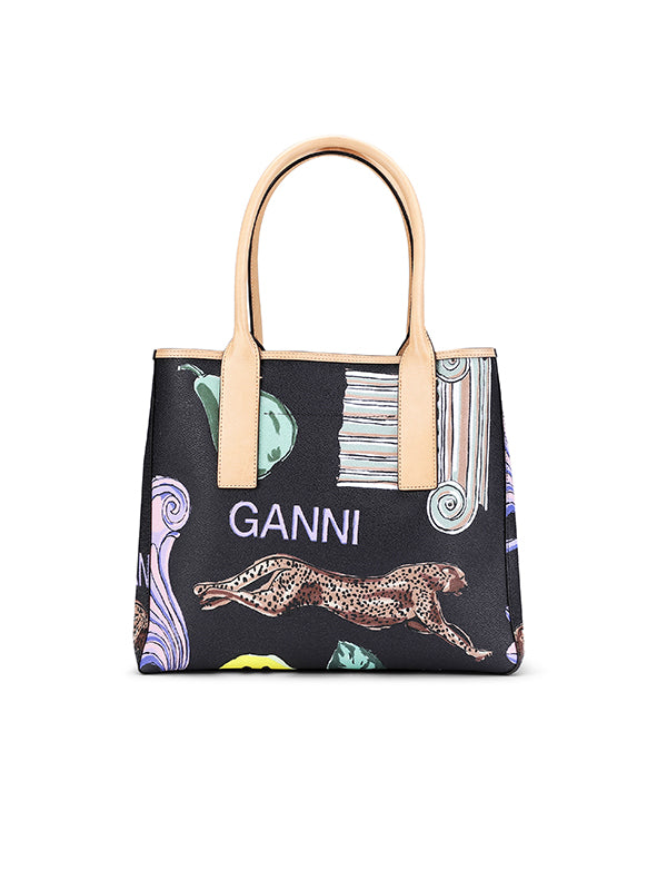 Ganni Coated Canvas Tote Bag in Multicolour