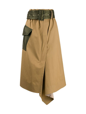 Cotton CoatED Skirt in Beige /Kahki