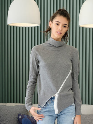 Cotton Knit Sweater In Grey