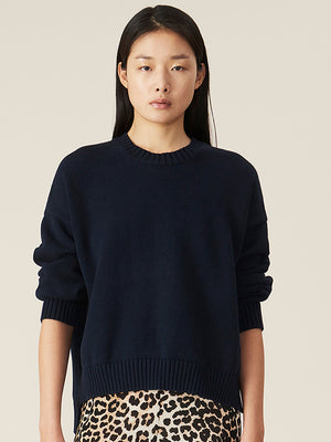 Ganni Cotton Oversized Pullover Knit in Sky Captain