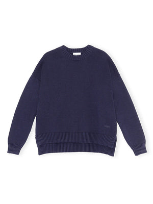 Cotton Oversized Pullover Knit in Sky Captain