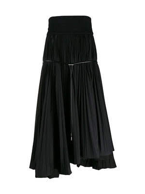 Cotton Pleated Skirt in Black