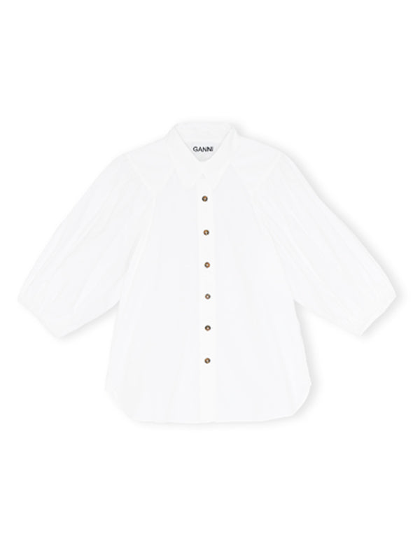 Ganni 3/4 Sleeve Shirt in White