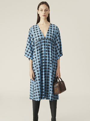 Ganni Cotton Silk Dress in Alaskan Blue