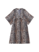 Ganni Cotton Silk Dress in Leopard