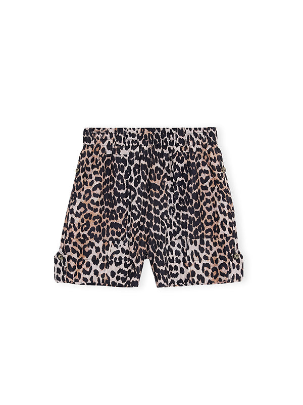 Ganni Cotton Silk Shorts in Leopard