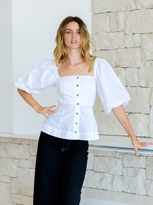Cotton Poplin Top in White