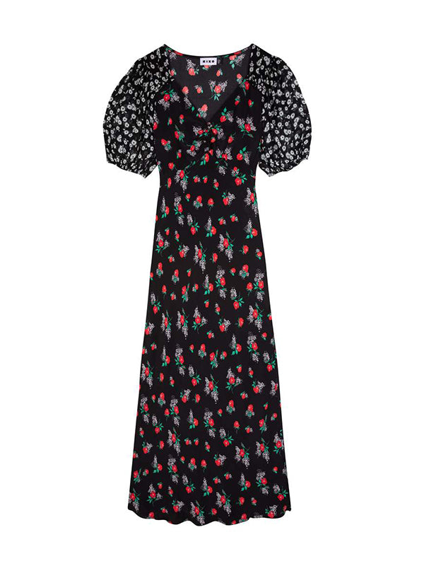 Rixo Cressida Dress in Micro Bunch Floral Red Black