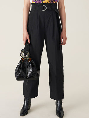 Ganni Crinkled Tech Belt Pants in Black