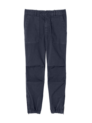 Cropped French Military Pant in Washed Marine Navy
