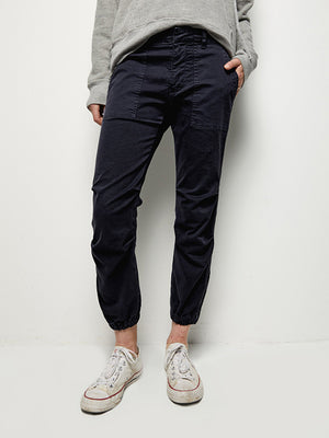 Nili Lotan Cropped French Military Pant in Washed Marine Navy