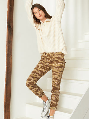 Cropped Military Pant in Kahki Tiger Camo