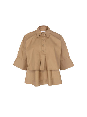 TECHNICAL POPLIN TOP IN CHESTNUT