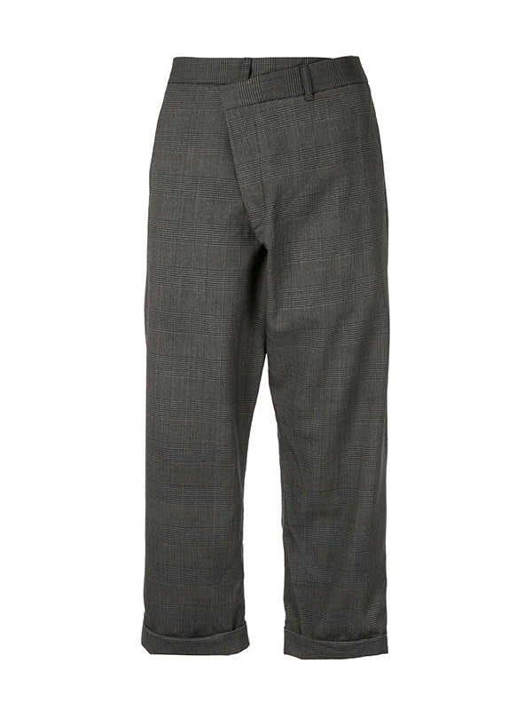 R13 Cross Over Trouser in Grey Check