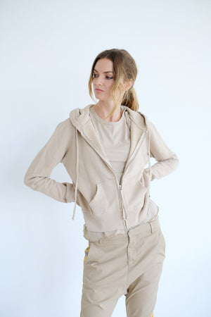 Nili Lotan Callie Zip up Hoodie in Khaki