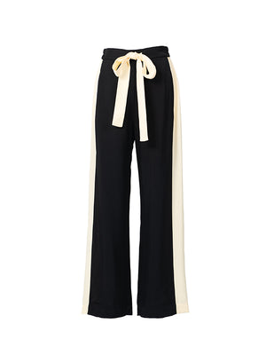 Didion Contrast Panel Wide Leg Pant in Black