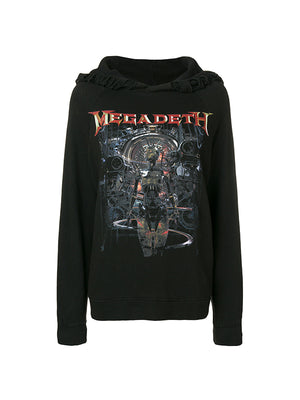 DISTRESSED MEGADETH MACHINE HOODIE IN BLACK