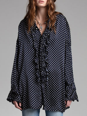 R13 Drop Neck Tuxedo Shirt in Navy Star