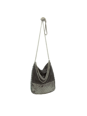 Elena Disco Bag in Black/Silver