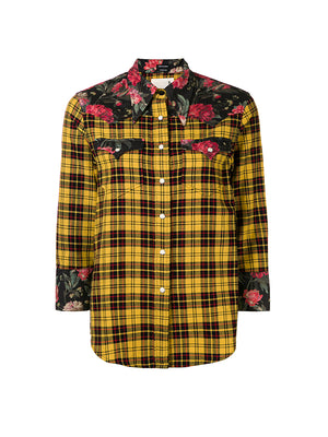 EXAGGERATED COLLAR COWBOY SHIRT IN YELLOW