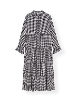 Gingham Crepe Layer Dress