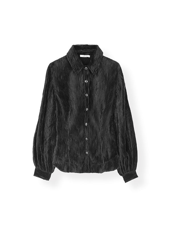 Pleated Satin Shirt