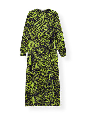 Silk Stretch SatinL/s Dress in Lime Tiger