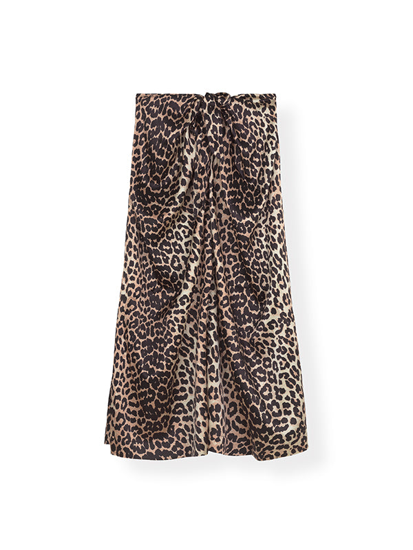 Silk Stretch Satin Skirt in Leopard