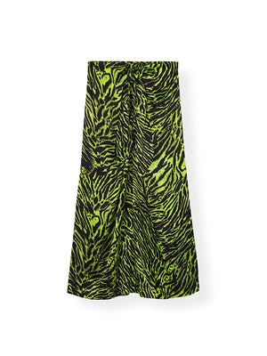 Silk Stretch Satin Skirt in Lime Tiger