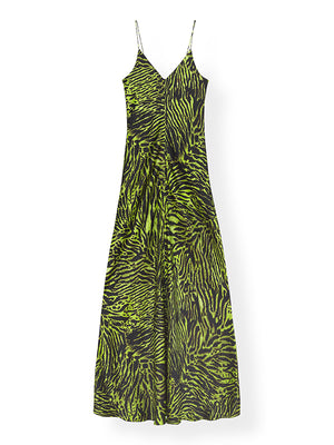 Silk Stretch Satin Slip Dress in Lime Tiger