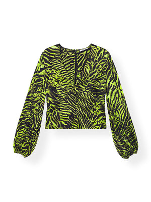 Silk Stretch Satin Top in Lime Tiger