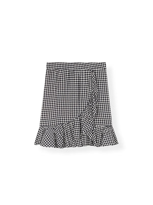Gingham Crepe Mini Skirt