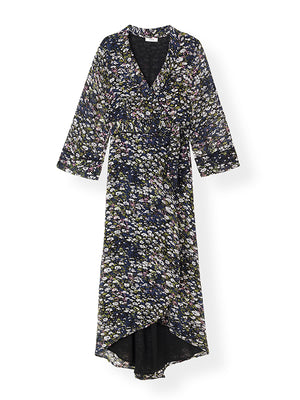 Printed Georgette Wrap Dress