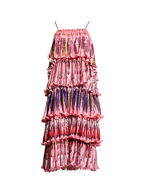 Fortuny Goddess Column Dress in Pink