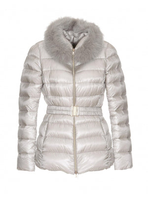 FUR HOOD PUFFER JACKET IN SILVER