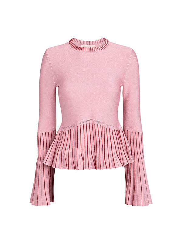 Metallic Pleats Bell Sleeve Top In Hibiscus