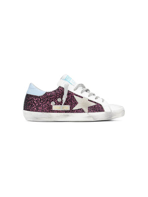 Sneakers Superstar in Wine Glitter