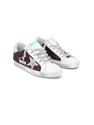 Golden Goose Sneakers Superstar in Wine Glitter G36WS590.S99